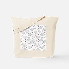 Elegant Tennis Love Pattern Grey and Pink Tote Bag