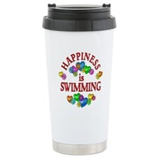 Happiness is Swimming Travel Coffee Mug