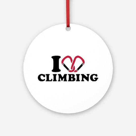 I love Climbing carabiner Ornament (Round)