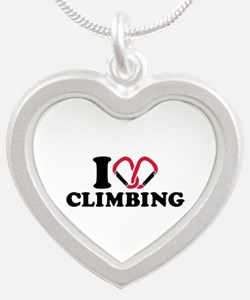 I love Climbing carabiner Silver Heart Necklace