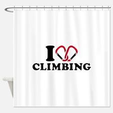 I love Climbing carabiner Shower Curtain