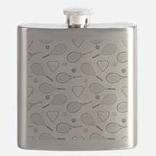 Elegant Tennis Love Pattern Grey and Pink Flask
