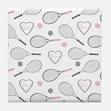 Elegant Tennis Love Pattern Grey and Pink Tile Coa