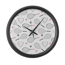 Elegant Tennis Love Pattern Grey and Pink Large Wa