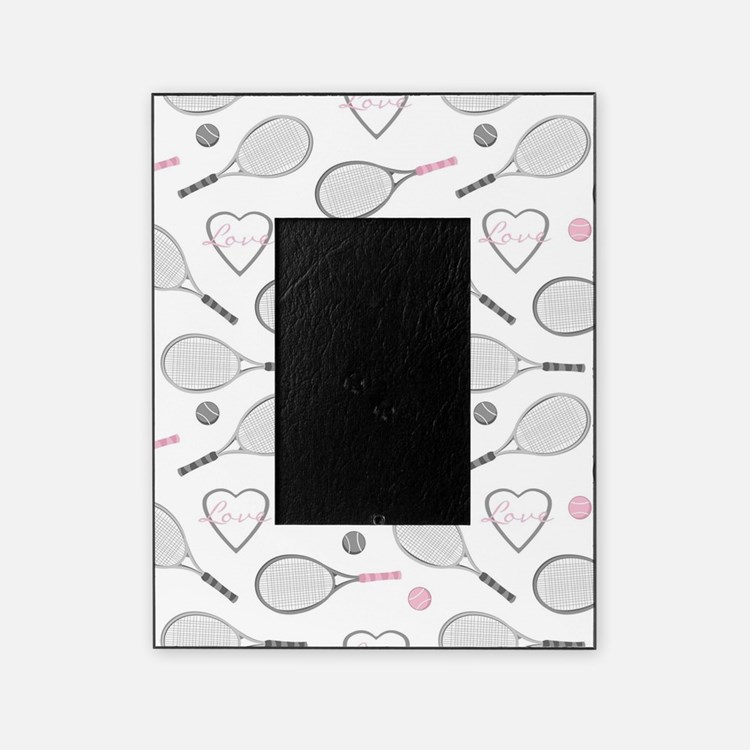 Elegant Tennis Love Pattern Grey and Pink Picture Frame