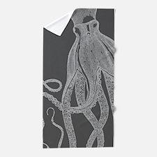 Vintage Octopus Shower Curtain in Grey Beach Towel