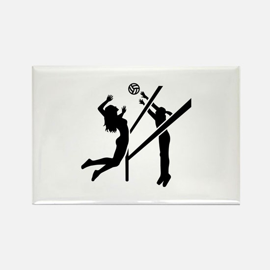 Volleyball girls Rectangle Magnet (10 pack)