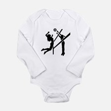 Volleyball girls Long Sleeve Infant Bodysuit