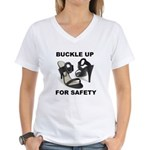 Buckle Up For Safety Women's V-Neck T-Shirt