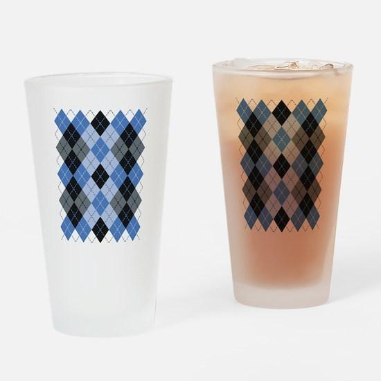 Blue Argyle Drinking Glass