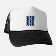 Blue Argyle Trucker Hat