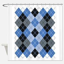 Blue Argyle Shower Curtain