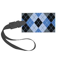 Blue Argyle Luggage Tag