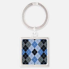 Blue Argyle Keychains