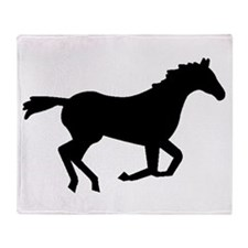 Horse Running Silhouette Throw Blanket