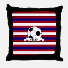 Soccer Ball RWB Throw Pillow