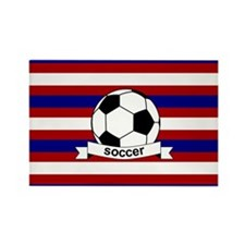 Soccer Ball RWB Rectangle Magnet