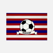 Soccer Ball RWB Rectangle Magnet