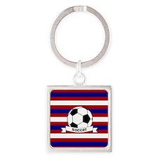 Soccer Ball RWB Square Keychain