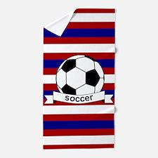 Soccer Ball RWB Beach Towel