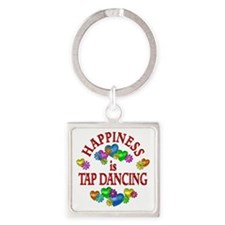 Happiness is Tap Dancing Square Keychain