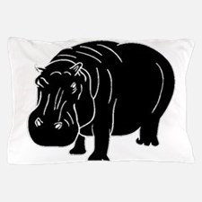 Hippopotamus Silhouette Pillow Case