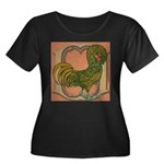 Polish Rooster Women's Plus Size Scoop Neck Dark T