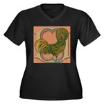Polish Rooster Women's Plus Size V-Neck Dark T-Shi