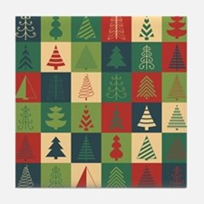 Christmas Tree Patches Tile Coaster