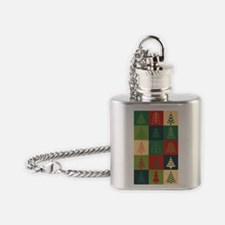 Christmas Tree Patches Flask Necklace