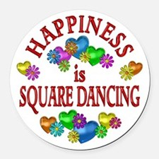 Happiness is Square Dancing Round Car Magnet
