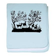 Deer In The Woods Silhouette baby blanket