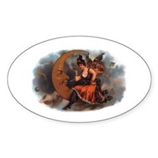Maiden on Crescent Moon Oval Decal