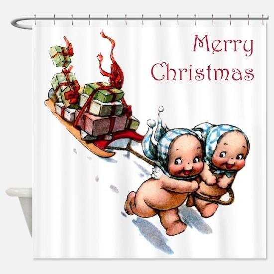 Cupies Christmas Sleigh Shower Curtain