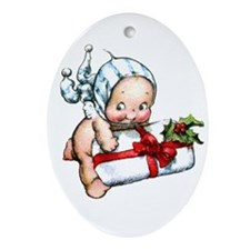 cupie brings a christmas Ornament (Oval)