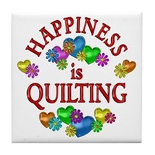 Happiness is Quilting Tile Coaster