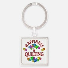 Happiness is Quilting Square Keychain