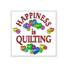 "Happiness is Quilting Square Sticker 3"" x 3"""