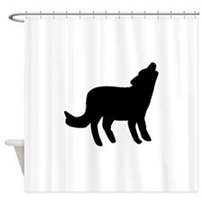 Howling Coyote Silhouette Shower Curtain