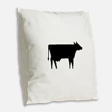 Cow Silhouette Burlap Throw Pillow