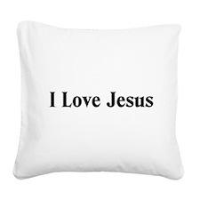 I Love Jesus Square Canvas Pillow