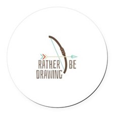 Rather Be Drawing Round Car Magnet