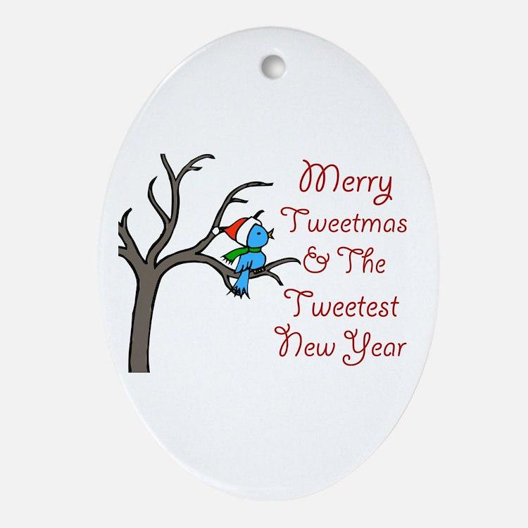 Blue Bird Says Merry Tweetmas Ornament (Oval)