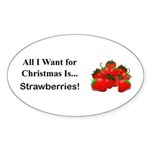 Christmas Strawberries Sticker (Oval 50 pk)