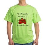 Christmas Strawberries Green T-Shirt