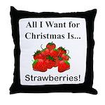 Christmas Strawberries Throw Pillow