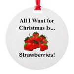 Christmas Strawberries Round Ornament