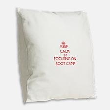 Boot Camp Burlap Throw Pillow