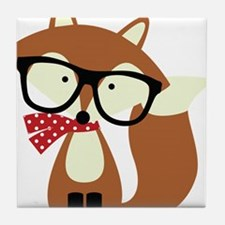 Holiday Hipster Brown Fox Tile Coaster