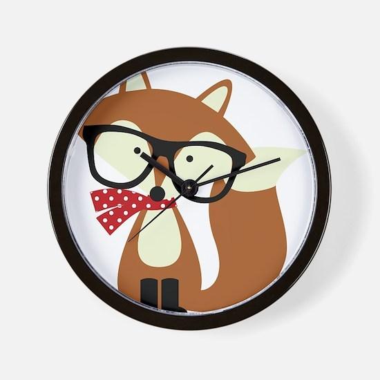 Holiday Hipster Brown Fox Wall Clock